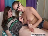 Teen Amateur Wearing Glasses Tugging On Cock