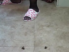Barely black pantyhose slipper teaser