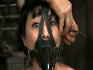 Dark Haired Nympho In Slave Mask Ties Up Red Haired Busty Bitch