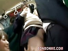 Cute School Girl Gets Excited By Being Molested In A Public Tran