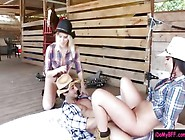 Two Hot Ass Teen Cowgirls Shared A Hard Cock At The Stable