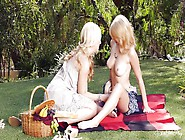 Blonde Chick Seduces Redhead During Picnic
