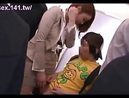 Horny Japanese Office Lady Seduces Young Boy In A Moving Train A