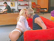 Blonde Beauty Lets Two Dudes Fuck Her The Same Time