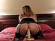 Curvaceous Blonde White Milf Riding A Dildo On The Bed