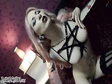 Razorcandi Gothic Slut With Huge Tits Fucks Fat Blasphemy Dildo