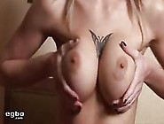 Busty Blonde Babe Rubbing Her Big Tittes