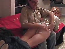 Father Spanks Daughter