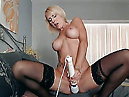 Slender And Hot Blonde Bitch With Fake Boobs Uses A Hitachi Mach