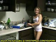 Young Amateur Hillbilly Cleans The Kitchen Nude
