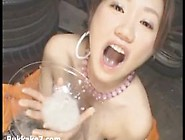 Asian Cutie Drinks Every Drop Of Cum From A Bowl
