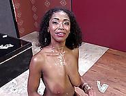 Ebony-Skinned Girl With Massive Natural Tits Enjoying An Interra