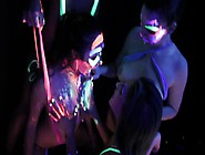 Black Light And Body Paint Makes For A Wild Lesbian Orgy