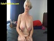 Sexy Busty Granny Enjoying With Big Fat Dildo On Webcam