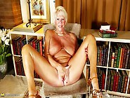 Blonde Granny With Big Boobs Mandi Masturbates Alone In The Libr