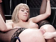 Bound Blonde Lesbo Anal Fucked With Strap On