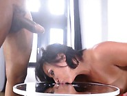 Blacked Skank Licks Cum