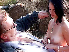 Hot Brunette With Big Perky Tits Sucking An Old Man's Cock