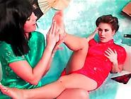 Toe Sucking Lesbians In Sexy Silk Dresses