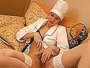 Nasty Nurse With Hairy Pussy Masturbates With Phonendoscope