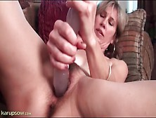 Hairy Milf Moans As She Fucks Thick Dildo