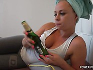 Naomi Is Relaxing,  Drinking Beer And Pees Her Leggins And Bed.