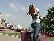 Hot Russian Brunette Teen In The City Center Pisses