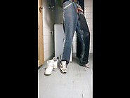 Pissing Baggy Jeans And Sneakers