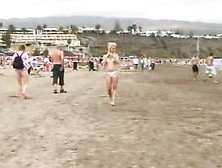 Blonde Sunbathing Then Goes For A Shit In The Hills Behind