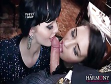 Party Girls In Classy Evening Gowns Give Blowjobs