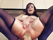 Squirting Milf With Big Dildo In Ass