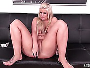 Busty Blonde Hottie Julie Cash Cleans Her Feet And Toys Her Cunt