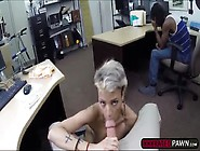 Short Haired Blonde Blows A Meaty Dick