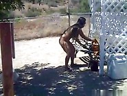 Mexican Girl Doing Chores Totally Nude Outside