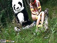 Lovely Teen Was Tied Up In The Forest And Fucked By A Huge Panda