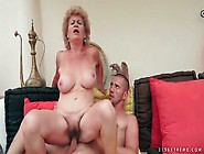 Wrinkled Granny With Big Tits Rides Her Man