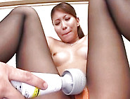 Japanese Teen In Stockings Gets Her Kitty Licked On The Table