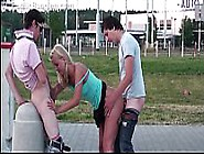 Very Cute Young Girl Risky Public Gangbang Threesome With 2 Teen