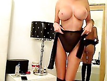 Sizzling Busty Blonde With Large Breasts Toying Stri And He
