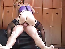 Blonde Milf In Stockings Charms With Lusty Cock Saddling