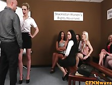 Cfnm Femdoms Humiliating And Wanking Dude In Group