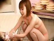 Busty Asian Teen Give First Handjob