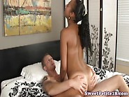 Ebony Teeny Amateur Riding On Cock