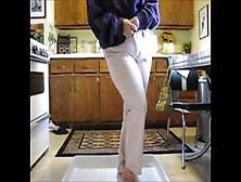 Peeing Her White Pants