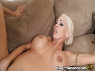 Blonde Slut Kasey Grant Gives Hand Job, Blow Job Then Gets Boob F