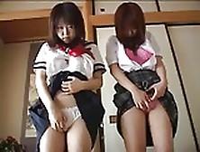 Japanese Schoolgirls Strip And Spread