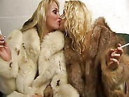 Two Blondes Girl In Fur Coat
