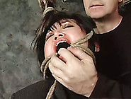 Asian Bitch Wearing Stockings Gets Tied Up And Tortured