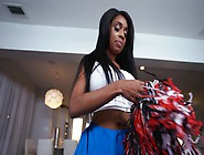 Slutty Black Cheerleader Babe With Huge Boobies Gets A White Coc