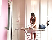 Young Chick Was Ironing Clothers Being Nude